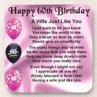 Wife poem - 60th Birthday Beverage Coaster