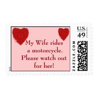 Wife rides a Motorcycle, watch out for him Postage