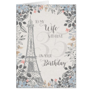 Wife Romantic 35th Birthday Eiffel Tower Card