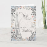 """Wife Romantic 65th Birthday Eiffel Tower Card<br><div class=""""desc"""">Romantic card for wife's 65th birthday has a blue and gray floral border,  a sketch of the Eiffel Tower and a subtle 65 in the background. Designed by Simply Put by Robin; elements from The Hungry Jpeg.</div>"""