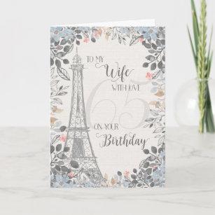 Wife Romantic 65th Birthday Eiffel Tower Card