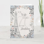 """Wife Romantic 70th Birthday Eiffel Tower Card<br><div class=""""desc"""">Romantic card for wife's 70th birthday has a blue and gray floral border,  a sketch of the Eiffel Tower and a subtle 70 in the background. Designed by Simply Put by Robin; elements from The Hungry Jpeg.</div>"""