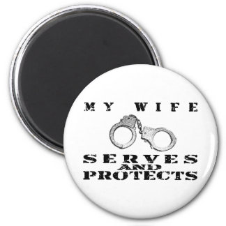 Wife Serves Protects - Cuffs 2 Inch Round Magnet