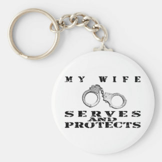 Wife Serves Protects - Cuffs Key Chains