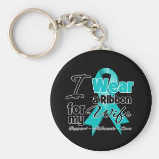 Wife - Teal Awareness Ribbon Key Chain