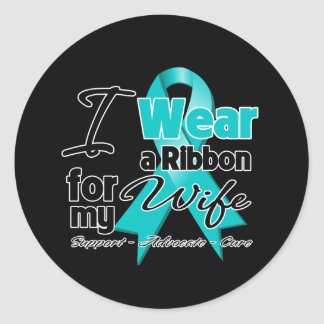 Wife - Teal Awareness Ribbon Classic Round Sticker