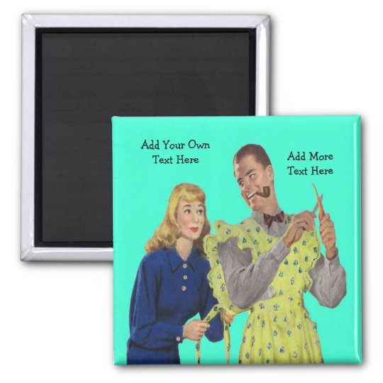 Wife Tying Her Husband's Apron Funny Retro Magnet