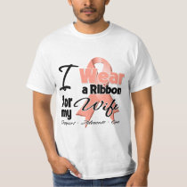 Wife - Uterine Cancer Ribbon T-Shirt