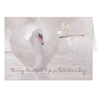 Wife Valentine's Day Card - Swan's In Pink