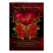 Wife, Valentine's Day Card With Heart And Roses