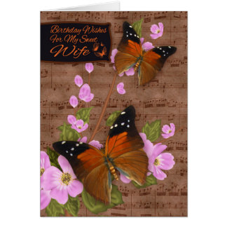 Wife, with Flipper Butterfly On Pink Apple Blossom Card