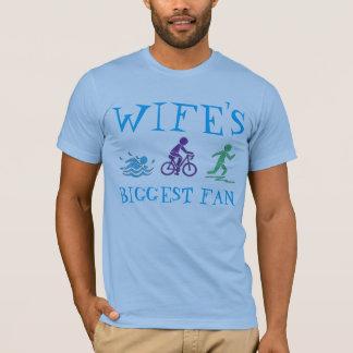 Wife's Biggest Fan Swim Bike Run Triathlete Race T-Shirt