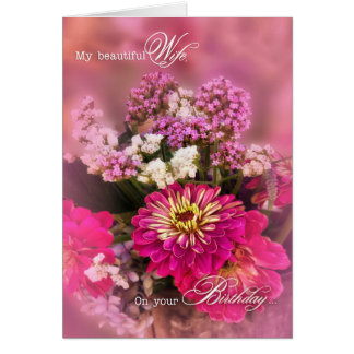 Wife's Birthday | Feminine Bouquet in Pink Greeting Card