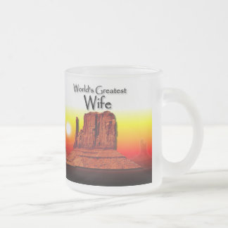 Wife's Loving Hands Red Stein 10 Oz Frosted Glass Coffee Mug