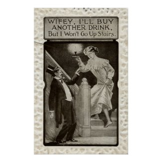 Wifey & A Drink Repro Vintage 1911 print
