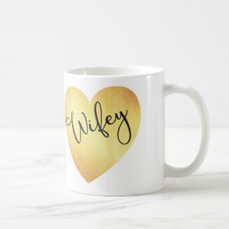 wifey calligraphy mug with gold foil heart