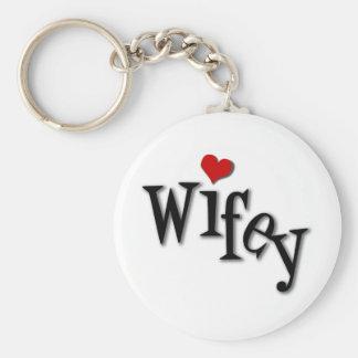 Wifey con el corazón rojo enrrollado llavero redondo tipo pin