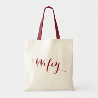 Wifey Dark Red Typographical Text Design Tote Bag