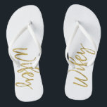 """Wifey Flip Flops with Gold Foil Typography<br><div class=""""desc"""">Wifey Flip Flops with Gold Foil Typography</div>"""