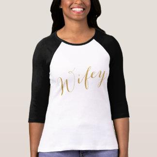 Wifey Gold Glitter Look Script Wife Girlfriend T-Shirt