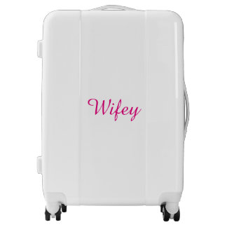 Wifey Hot Pink And White Personalized Elegant Cool Luggage