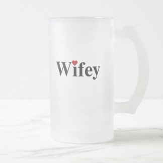 Wifey 16 Oz Frosted Glass Beer Mug