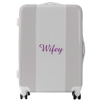 Wifey Purple Silver Light Grey Personalized Cool Luggage