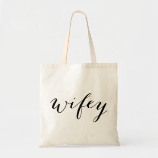 Wifey tote for bride honeymoon or wedding budget tote bag