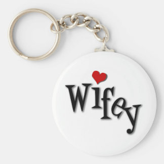 Wifey With Funky Red Heart Basic Round Button Keychain