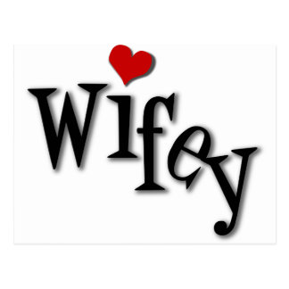 Wifey With Funky Red Heart Postcard