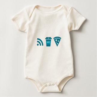 Wifi-Coffee-Pizza Baby Bodysuit