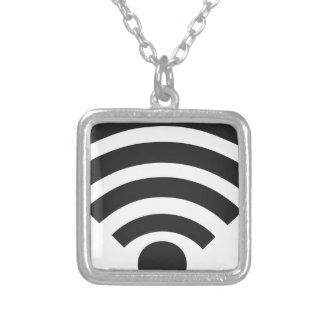 Wifi network symbol square pendant necklace