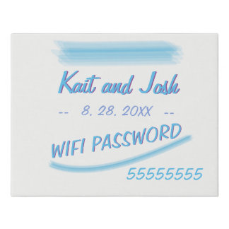 WIFI Password Sign Minimalist Soft Ambiance Blue