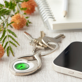 WiFi Symbol Silver-Colored Heart-Shaped Metal Keychain