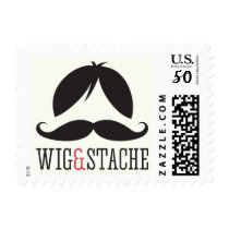 Wig and stache mustache bash birthday party postage