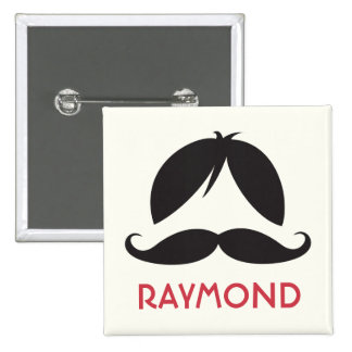 Wig and stache mustache personalized name 2 inch square button