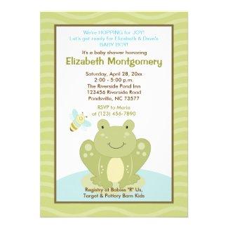 Wiggle Frog and Bug Baby Shower Invitation