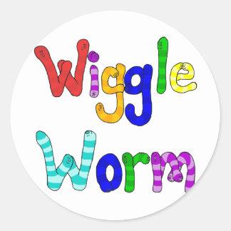Wiggle Worm Classic Round Sticker