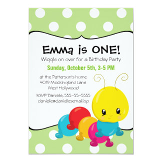Wiggle Worm First Birthday Party Card