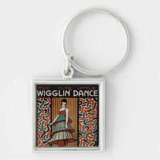 Wigglin Dance Silver-Colored Square Keychain