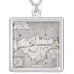 Wight Island, engraved by Jodocus Hondius Square Pendant Necklace