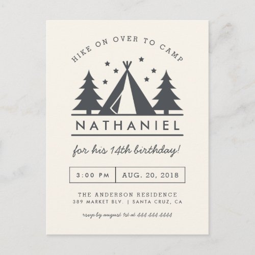Wigwam in the Woods Birthday Camp Party Invitation