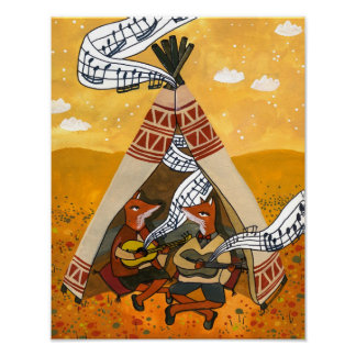 Wigwam Waltz - Two foxes playing Music Poster