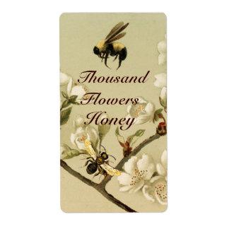 WIHITE SPRING FLOWERS AND HONEY BEE ,BEEKEEPER LABEL