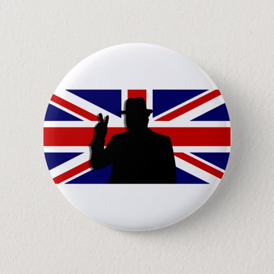 Wiinston Churchill British bulldog Pinback Button