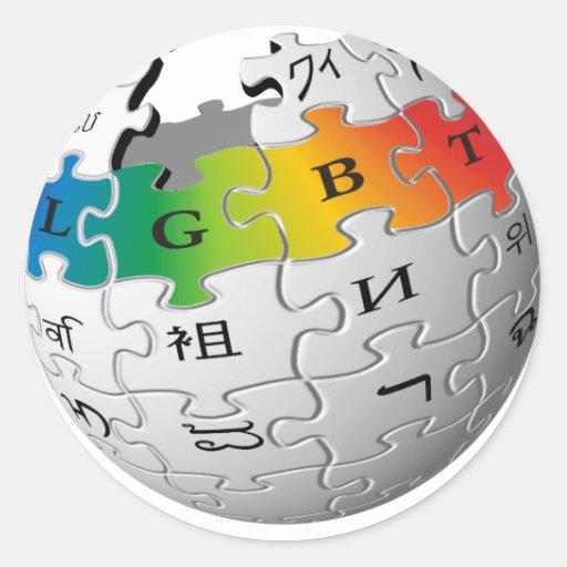 Wiki-Mundo de LGBT Pegatina Redonda