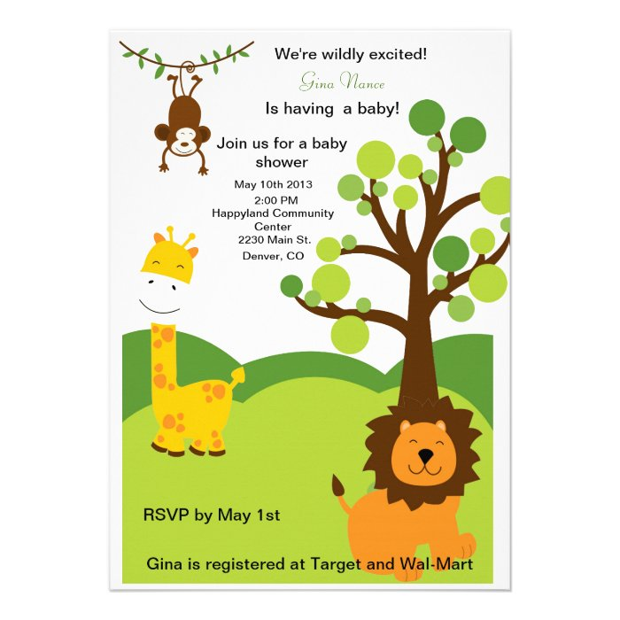 jungle themed baby shower invitations announcements invites
