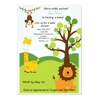 """Wild About Baby Shower Invites 5"""" X 7"""" Invitation Card"""