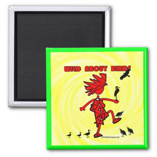 Wild About Birds Red Design 2 Inch Square Magnet