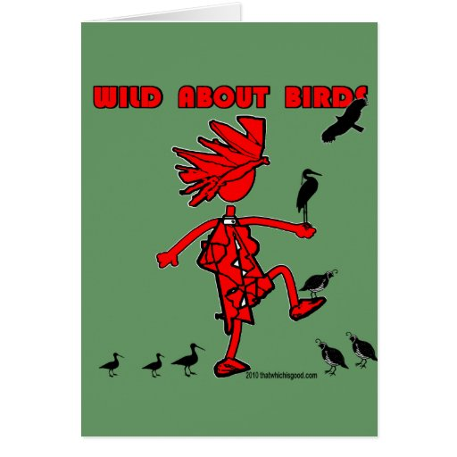 Wild About Birds Red Design Greeting Card